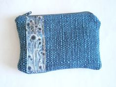 Blue Zipper Pouch - Denim Blue Bag -  Card Holder - Upcycled Purse - Coin Pouch - Change Purse - Vegan - Sustainable Fashion - Travel Pouch My Best Friend's Birthday, Cosmetic Pouch, Change Purse, Fabric Samples, Blue Bags, Blue Fabric, Zipper Pouch, Flower Patterns, Sustainable Fashion