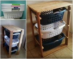 Pallet Laundry Basket Dresser - this would be a great shoe holder at school or a hat holder??