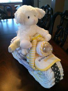 Motorcycle Diaper Cake- Baby Shower, Gender Neutral @Beth Nativ Tramontozzi