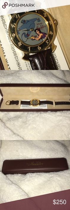 Collectors Aladdin watch Had this watch in its original box for years. Lol collectors? Needs batteries, noticed some scratches on the face. Has been worn, bend in watch band from wear. Preloved. But a fun watch for Disney fans. Bought at Disneyland. Disney Accessories Watches