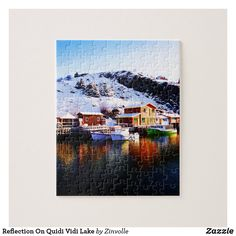 Shop Reflection On Quidi Vidi Lake Jigsaw Puzzle created by Zinvolle. Newfoundland Canada, Postcard Invitation, Make Your Own Puzzle, Custom Gift Boxes, Winter Day, Chipboard, High Quality Images, Jigsaw Puzzles, Reflection