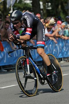 Tom Dumoulin of the Netherlands riding for Team Giant Alpecin races to fourth place in the individual time trial in stage one of the 2015 Tour de France on July 4, 2015 in Utrecht, Netherlands.
