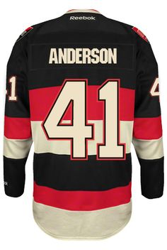Ottawa Senators Goalie Craig ANDERSON #41 Official Third Reebok Premier Replica NHL Hockey Jersey (HAND SEWN CUSTOMIZATION)