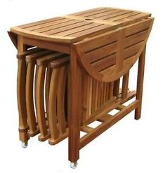 drop-leaf-table-and-chairs Folding Furniture, Space Saving Furniture, Dining Furniture, Garden Furniture, Diy Furniture, Furniture Design, Furniture Dolly, Furniture Stores, Furniture Plans