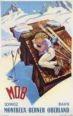 Artist: Martin Peikert Title: M. Read more Vintage ski… Ski Vintage, Vintage Ski Posters, Retro Poster, Vintage Winter, Cool Posters, Retro Illustration, Illustrations, Alpine Ski Resort, Poster