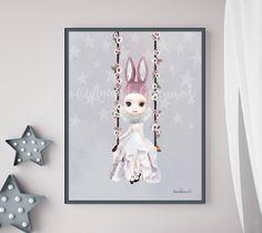 Miss Lily by Amanda Greenwood, watercolor nursery wall art, pink,gray, bunny, blush pink, muted, nursery prints, baby girl, nursery, neutral by hellomrmoon on Etsy