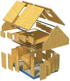 House construction using SIP panels. For more on the features and techniques of SIP wall and roof construction, take a look at Structural Insulated Panel Construction. Sip House, Sips Panels, Building An Addition, Oak Frame House, Structural Insulated Panels, 3d Modelle, Building Systems, Building Materials, Room Additions