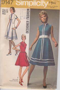 Einfachheit Muster #9147 Größe 12  70er Jahre vermisst Kleid in 2 Längen. Prinzessin, unendliche, hoher runder Halsausschnitt und
