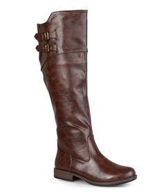 Love this Brown Tori Wide-Calf Riding Boot by Journee Collection on #zulily! #zulilyfinds