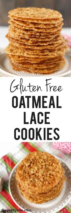 Free Oatmeal Lace Cookies These gluten free oatmeal lace cookies are super think and crisp. This is a delicious holiday cookie recipe!These gluten free oatmeal lace cookies are super think and crisp. This is a delicious holiday cookie recipe! Gluten Free Deserts, Gluten Free Sweets, Foods With Gluten, Gluten Free Cookies, Gluten Free Baking, Sans Gluten, Vegan Gluten Free, Healthy Cookies, Healthy Snacks