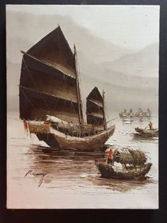 The Best Old Vintage Collectable Original Oil Paintings Of Chinese Junk Boats Hong Kong? Paintings