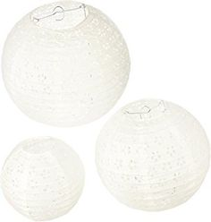 Darice David Tutera 3-Piece Lace Look Paper Lanterns, 6/8/10-Inch, White