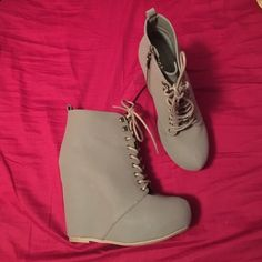 Wedges Subtle army green color. Lace up ankle wedges. 5 inch heel, 1 inch platform. Worn once. Box included. Bamboo Shoes Ankle Boots & Booties