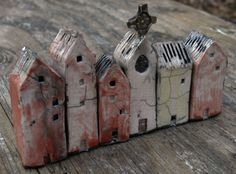 "Small Raku Houses. 1"" x 1"" bases. Mark Strayer, North Star Pottery"