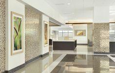 Mercy Joplin Hospital entry to cafe  custom artwork by Spellman Brady & Company Interior Design