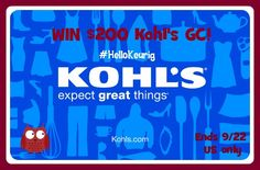 #Win $200 Kohls GC!! ends 9/22 US only WHat would you buy?