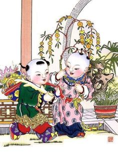 Chinese New Year Cherubs posted by Sifu Derek Frearson Chinese New Year Poster, Chinese Posters, New Years Poster, Chinese Painting, Chinese Art, Chinese New Year Traditions, Baby Posters, Year Of The Pig, Drawing Lessons