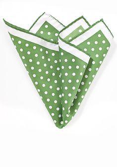 Einstecktuch große Pünktchen grün perlweiß