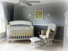 Neutral Nursery -I like the crib in the corner... Exactly what I picture for my Elli but with pink on top & gray on bottom. Love the placement of the crib & glider/ottoman