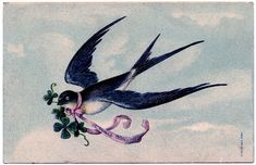 Lovely, lovely Swallow with Pink Ribbon Garland – French