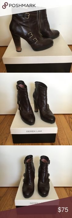 Derek Lam High Heel Platform Leather Booties Gorgeous and versatile Derek Lam Pilar Tronchetto 110 Ridged Dark Brown leather platform high heel ankle booties with 3 decorative brass buckles. Previously worn but still in good condition, with a couple of slight nicks and some scuffing that could probably be polished (as pictured). Recently resoled, including toe taps, though part of the sole on the left side of left boot needs to be reglued as shown in photo. Comes with original box and dust…