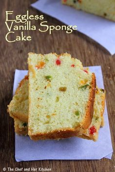 finally a way to make sponge cake without battling . - eggless tutti frutti cake… finally a way to make sponge cake without battling with egg whites - Eggless Desserts, Eggless Recipes, Eggless Baking, Dessert Recipes, Cooking Recipes, Eggless Vanilla Sponge Cake, Egg Free Cakes, Cake Recipes Without Eggs, Plain Cake