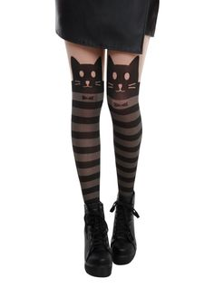 LOVEsick Kitty Stripe Faux Thigh High Tights | Hot Topic