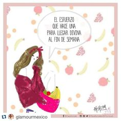New collaboration with @glamourmex The effort it takes to look divine for the weekend • #glamour #comic #fashion #fashcom #diet #happiness #weekend #healthyfood