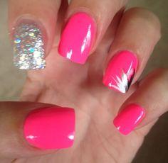 Hot pink, glittery nails  #summer #nails #pink