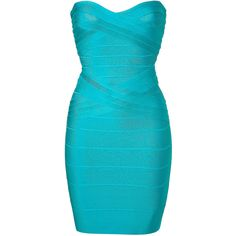 HERVÉ LÉGER Turquois Strapless Bandage Dress ($720) ❤ liked on Polyvore featuring dresses, vestidos, short dresses, blue, strapless dress, cocktail dresses, sweetheart neckline cocktail dress, holiday cocktail dresses and short evening dresses