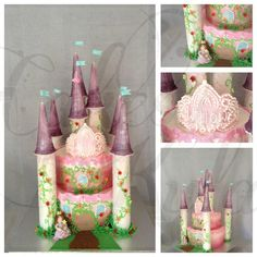 Rainbow layer cake princess tower. Standing at 20 inches tall, or just over half a metre high this airbrushed cake includes a hand crafted sugar tiara, handmade flowers and sugar princess. Piped royal icing and fondant details and finally covered in shimmer for that extra princess sparkle!
