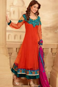 Orange Georgette & Net Salwar Kameez