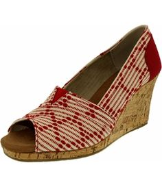Toms Women's Classic Wedge Cross Stitch Cork Ankle-High Fabric Sandal