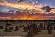 Pinnacles, a limestone formation within Nambung National Park, near the town of Cervantes, in western Australia