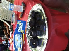 Monster truck birthday party- small chocolate covered donuts with a few decorations