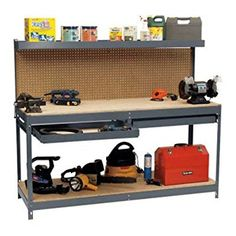Garage Workbench With Pegboard Storage Shelf Drawers- This 6' Monster Stell Worktable Has It All- Storage Organizational Shelves Drawers For Tools Projects- Metal Durable Functionable Extra Strong - - Amazon.com