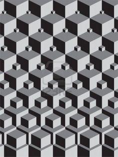 escher inspired stacking cubes art  Stock Photo