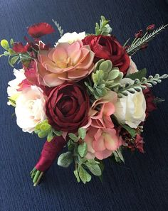 Wedding Bouquet, Bridal Bouquet, Blush & Burgundy Wedding Flowers, Silk Floral Bouquet, Blush and Burgundy Bouquet, Succulent Bouquet