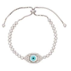 Angelique Silver CZ 18kt White Gold over Sterling Silver Mother of Pearl Evil Eye Adjustable Slider Tennis Bracelet