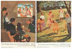 "1950S Suburbia | Vintage Beer Ads Home Life in America Series (L) ""Vacationers Reunion ..."