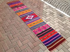 Colorful Kilim runner, Vintage Turkish kilim runner rug, runner rug, vintage faded runner, bohemian runner rug, Turkish rug, rug, orange rug