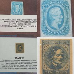 Two  Confederate States Jefferson Davis 10 cents postage stamps. Bids close Thurs, 18 Aug from 11am ET. http://bid.cannonsauctions.com/cgi-bin/mnlist.cgi