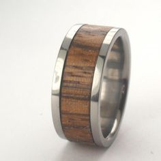 Wood Ring / Zebrawood Inlaid in Titanium Ring - Wooden Wedding Band......