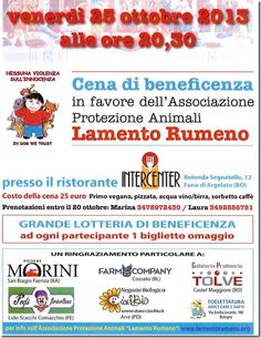 25/10 Funo di Argelato #Bologna - #Cena di #beneficenza per #LamentoRumeno