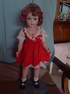 ARRANBEE (R&B) VINTAGE USED HARD PLASTIC NANETTE DOLL IN RARE RED EMBOSSED DRESS in Dolls & Bears, Dolls, By Brand, Company, Character | eBay