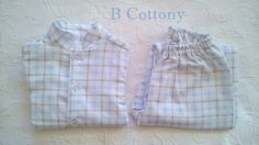 Pijama de rapaz em xadrez azul - Blue check boys pajamas  https://www.instagram.com/bcottonyforchildren/
