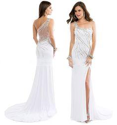 Wholesale Evening Dresses - Buy Custom Made 2014 One Shoulder Evening Dress Beading Sequin Bodice Sheer Evening Gowns Sexy Side Split Formal Dresses, $125.3 | DHgate