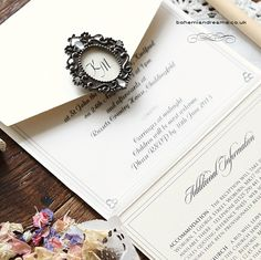 Victorian touch wedding invitation. Featuring a wonderful miniature frame personalised with the couple's initials, this collection is classic and elegant with a strong fairytale factor! Price starts from £4.99
