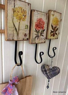 (notitle) - Hang it . Decoupage Vintage, Decoupage Art, Wood Crafts, Diy And Crafts, Arts And Crafts, Wood Projects, Craft Projects, Projects To Try, Articles En Bois