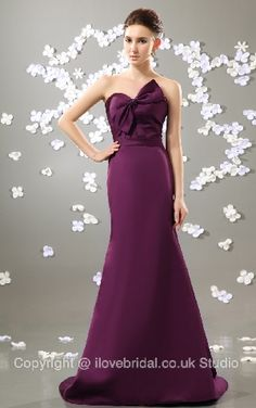 Gentle Strapless Sweetheart Satin A-line Evening/Bridesmaid Dress With A Lovely